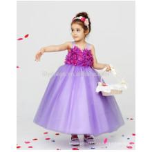 Трапеция майка сзади бант оптом Подгонянный цветок девочки платья vestidos FGZ38 один кусок девочек бальные платья, детские Вечерние платья