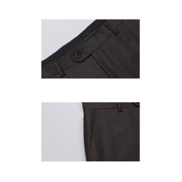 Solid Brown 100% Wolle Herrenhose Anzughose
