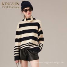 Heavy Gauge Stripe Color Cashmere Jumper, 100% Cashmere Sweater, Turtle Neck Boy Friend Style