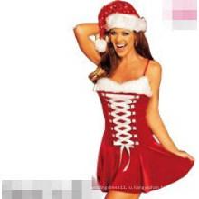 Сексуальный Санта мини-платье мода Рождественский костюм (FS5808)