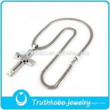 2015 Fashion Silver Zipper Chain Neckace Hot Design Chunky Stainless Steel Men's WholesaleJewelry with High Polish Cross