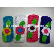 Новый стиль вязания крючком шерстяной пряжи повязка цветок
