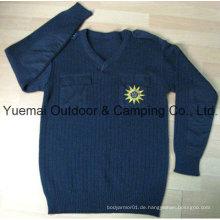 Hochwertiger Armee-Marine-Pullover in der Wolle