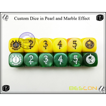 Customized Green Pearl Dice with Custom Engraving on Six Sides