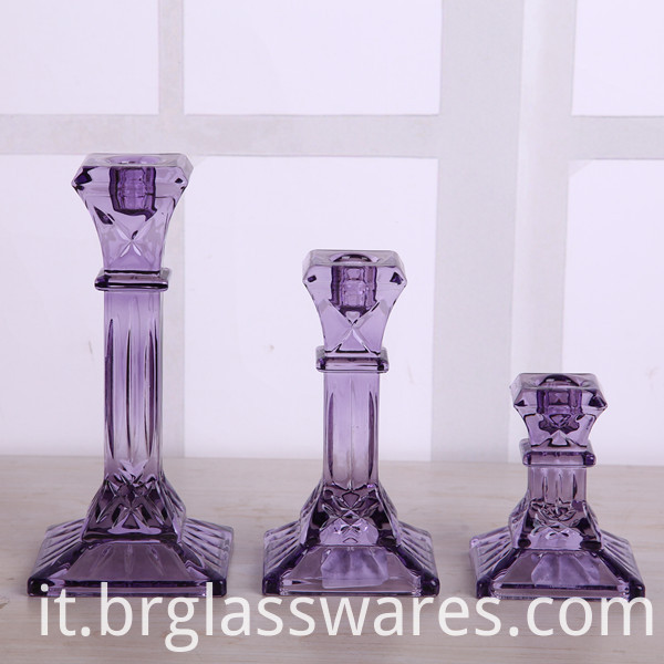 Classic Purple Square Base Candlestick Holder