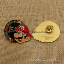 Custom Super Mario Enamel Abzeichen mit Butterfly Cluch