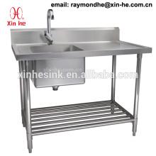 Коммерческая 2 Два отсека раковина с drainboard нержавеющей стали двойной кухня раковина верстак стол с Undershelf