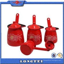 Aquecedor de café de esmalte vermelho com lata