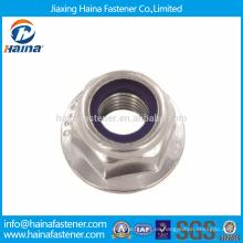 DIN Standard Hex A4-80 Tuercas de brida de acero inoxidable con inserto de nylon