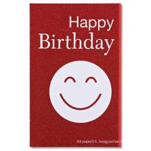 Red Smiley Face Happy Birthday Party Invitation Card Glitter Invitation  Card