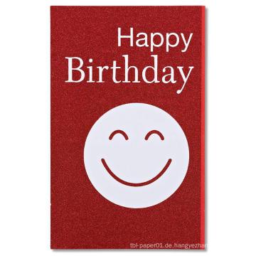 Rote Smiley-glückliche Geburtstagsfeier-Einladungs-Karten-Glitter-Einladungs-Karte