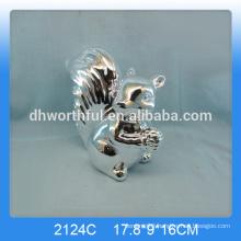 Hot selling silver plating ceramic squirrel ornament,ceramic squirrel figurines,ceramic squirrel decoration