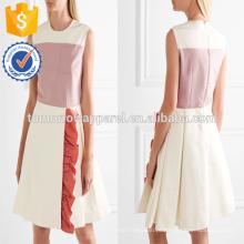Mangas babados multi colorido plissado mini vestido de verão diário manufatura atacado moda feminina vestuário (ta0027d)