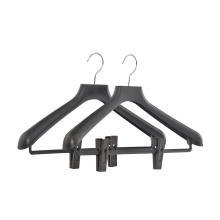 Customised logo plastic hanger black plastic suit coat hanger clothing hanger plastic