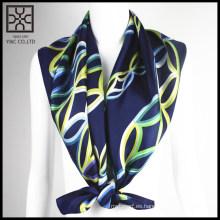 Bufanda de seda impresa cuadrado azul marino de la manera 2015