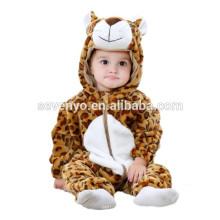 Bebé suave Romper Animal Onesie traje traje de dibujos animados Homewear ropa de dormir, franela, mini leopardo-bebé, linda toalla con capucha