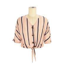wholesale chemisier de bureau de mode personnalisé tops chemises de femmes d'entraînement de concepteur de col en v