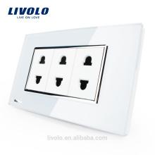 2016 Vente Chaude Livolo US Style 2 Pins Blanc Cristal Verre Socket 10A AC 125 ~ 230 V Mur Powerpoints Socket Avec Prise VL-C3C3A-81