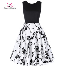 Grace Karin Retro Vintage 50s 60s Sleeveless Crew Neck Patchwork Flare A-Line Party Picnic Summer Dress CL010463-1
