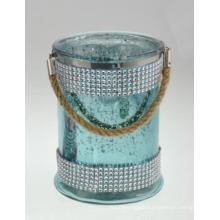 New Fashion Diamond Cylinder with Hemp Rope Candle Holder