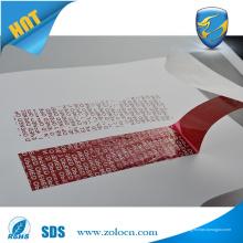 Adhesivo de doble cara adhesivo de seguridad evidente cinta VOID OPEN para el sellado de la bolsa de seguridad