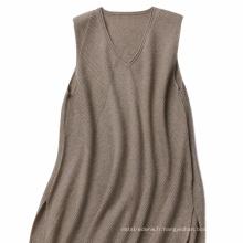 P18B13TR 100% Cachemire tricoté pull jupe lady sans manches pull