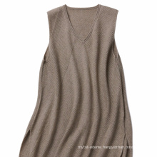 P18B13TR 100% cashmere knitted jumper skirt lady sleeveless sweater