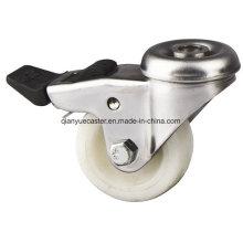 Casquete de aço inoxidável de nylon / PP, rodízio leve, buraco de parafuso com rodízio de nylon com freio