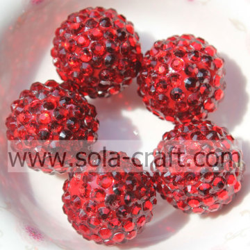 Solid Red Resin Rhinestone 20*22MM Round Beads For DIY Jewelry