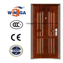 Porta de aço inoxidável polonês da entrada da cor marrom da entrada (WS-124)