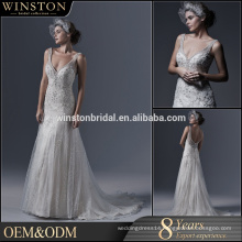 high-quality beads decoration strap mermaid wedding dress real picture