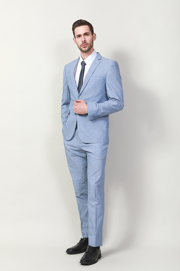 MEN'S LIGHT BLUE MELANGE JACKT AND TROUSER