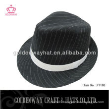 Black and white strip classic fedora hat wholesale