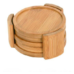 Disposable round bamboo coasters set
