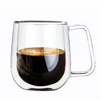 Resistência ao calor transparente Caneca de café de vidro Copo de suco de leite de parede dupla