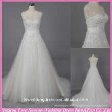 WD6030 Quality fabric good handmade export quality a line floral crystal beaded open back wedding dress
