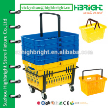 supermarket hand basket,shopping basket with custom logo printing,plastic grocery baskets for sale