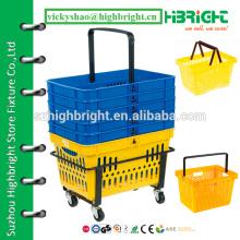 supermarket hand basket,shopping basket with custom logo printing,plastic grocery baskets for sale
