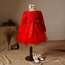 girls party dresses cotton dress for winter embriodery chinese new year celebration party red clothes gowns dancing