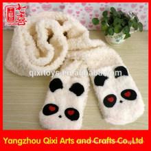 Cute panda head animal plush scarf embroidery winter scarf factory china