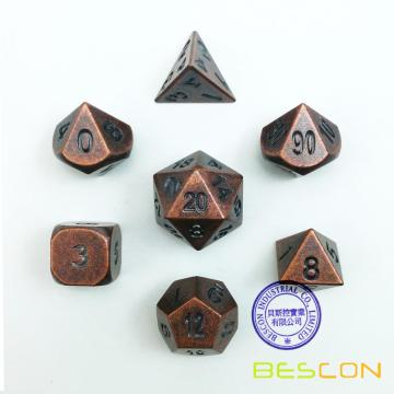 Bescon Antique Copper Solid Metal Polyhed D & D Dice Set de 7 Old Copper Metal RPG Juego de rol Juego de dados 7pcs