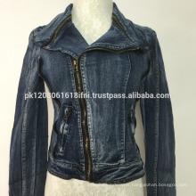 women stylish jacket with front zipper jeans denim style custom made