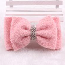 Pinza de pelo rosa Bowknot algodón