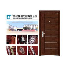 Puerta blindada de madera de acero estilo europeo clásico con talla
