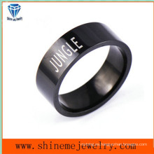 Shineme joyas de moda negro plateado anillo de acero inoxidable (SSR2779)
