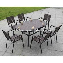 New design outdoor garden furniture plastic wood furniture dining table set for restaurant