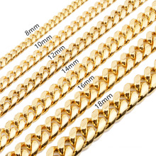 Amazon Wish Ebay Hot Sale Hip Hop Necklace Factory Cuban Chain Faucet Clasp Necklace Stainless Steel Gold Jewelry