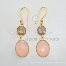 Халцедон Драгоценный Камень Позолоченные Стерлингового Серебра Серьги Для Женщин