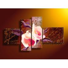 Pinturas hechas a mano de la flor del arte de la lona para la decoración casera (FL4-141)
