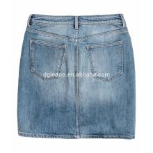 Cremallera con botón corto mini denim cintura alta y falda de calidad